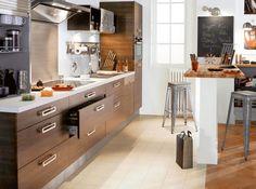 Une #cuisine ouverte bien aménagée !  http://www.m-habitat.fr/penser-sa-cuisine/implantation-cuisine/notre-selection-des-plus-belles-cuisines-ouvertes-29_R