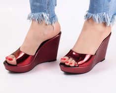 d98fe3df1090 Dech Barrouci · Wedge Heels · Metallica Red Wedge