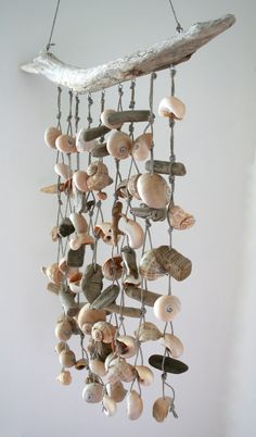 Driftwood Sea Shell Mobile Beach Wind Chime by SkyLineDesign777, $52.00