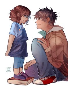 Percy Jackson and his baby sister. In my head, I picture this little girl to be Bianca's reincarnation.