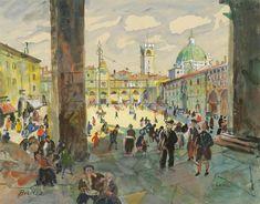 Oskar Laske : Galerie bei der Albertina Gouache, Signature Stamp, Tempera, Artsy, Nude, Urban, Watercolor, Paper, Artwork