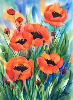 Red Poppies Watercolor Painting by MarthaKislingArt Watercolor Poppies, Red Poppies, Watercolor Paper, Watercolor Paintings, Original Paintings, Watercolors, Art Floral, Painting Frames, Painting & Drawing