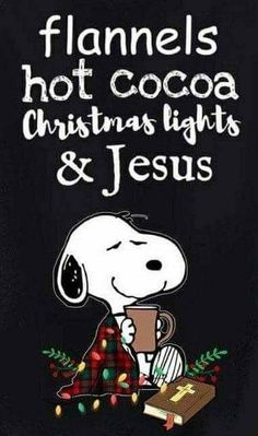 Snoopy - Flannels, hot cocoa, Christmas light and Jesus. Peanuts Christmas, Winter Christmas, Christmas Lights, Christmas Holidays, Merry Christmas, Xmas, Celebrating Christmas, Snoopy Quotes, Charlie Brown And Snoopy