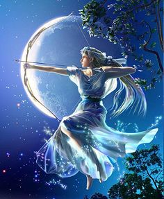 Floating amongst the trees is a beautiful girl with a silver bow... and though in form she is human, to all eyes she seems to be one with the Moon.