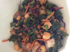 Sauteed kale with chickpeas, onions and carrots in a balsamic glaze. We <3 Kale!