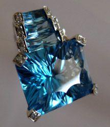 Bellarri 18K White Gold Mystique Cut Blue Topaz & Diamond Enhancer Pendant