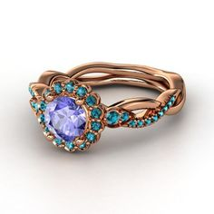 Round Tanzanite 14K Rose Gold Ring with London Blue Topaz - Lucinda Ring | Gemvara