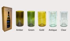 """16oz glasses are 5.5"""" Tall Great for water, iced tea, wine or cocktails. Glasses available with or without custom etching Mixed colors most popular & best value – Contains 2 amber, 1 green and 1 gold glass Dishwasher safe $28.00–$48.00 16oz glasses are 5.5″ Tall"""