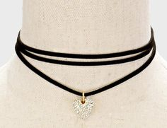 Crystal Heart Choker on Black Triple Suede Cord
