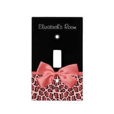 Coral and Black Jaguar Print Cute Bow With Name Light Switch Covers