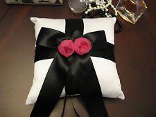 New Lg Elegant White Satin Ring Pillow w/ Black Ribbon & Fuschia Floral Accent