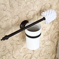 Kaufen (EU Lager)WC-Bürstenhalter Antik Messing Bad Accessoires Schwarz mit Günstigste Preis und Gute Service!