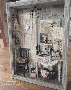 Miniature Room Box by Toshio Honzawa - aksaray Vitrine Miniature, Miniature Rooms, Miniature Crafts, Miniature Fairy Gardens, Miniature Houses, Shadow Box Kunst, Shadow Box Art, Altered Boxes, Altered Art