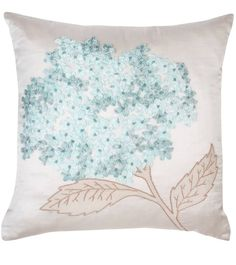 @ Laura Ashley: Hydrangea Cushion - ribbon embroidery with bead centres