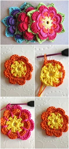 Flower Pattern – in English!Here you will find so many interesting and beautiful step by step crochet flowers ideas.
