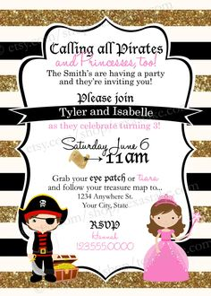 Pirate & Princess Birthday Invitation - Printable Party Invite - Boy/Girl Birthday, Twins, Triplets, Quadruplets Birthday Party by TexasTake on Etsy https://www.etsy.com/listing/234238459/pirate-princess-birthday-invitation
