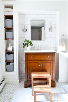 Corner shelves for smartly utilizing unused space in a small bathroom.