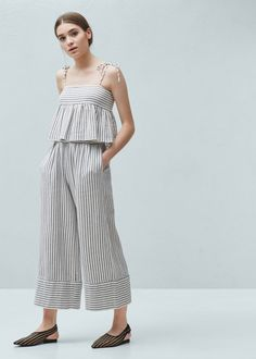 Striped cotton-blend top - Shirts for Woman | MANGO Finland