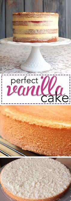 The Perfect Vanilla Cake Recipe. This amazing vanilla cake bakes perfectly every… The perfect vanilla cake recipe. This amazing vanilla cake bakes perfectly every time! Try the recipe that has convinced thousands of bakers around the world! Just Desserts, Delicious Desserts, Dessert Recipes, Frosting Recipes, French Desserts, Holiday Desserts, Icing Recipe, Recipe Recipe, Homemade Desserts