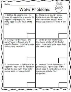 Math Freebie Easter Word Solve word problems involving addition and subtraction.for my high level learnersEaster Word Solve word problems involving addition and subtraction.for my high level learners Word Problems 3rd Grade, Second Grade Math, Math Problems For Kids, 2nd Grade Homework, Anchor Charts, 3rd Grade Math Worksheets, Addition Worksheets, Alphabet Worksheets, 2nd Grade Activities