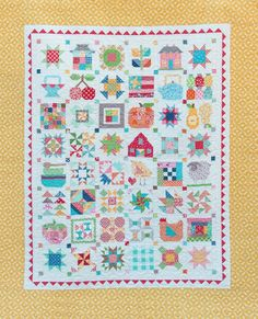 """Join us in making this adorable Farm Girl Sampler Quilt designed by Lori Holt of Bee in My Bonnet Designs. Lori has created many original blocks that were inspired by her Farm Girl memories and added a new spin on some traditional blocks for this quilt. We are offering this quilt in two sizes. Make all your blocks in a finished 6"""" size and you'll create a quilt that measures 62.5"""" x 76.5"""". Or, we have created a 7 x 7 block layout for 12"""" finished blocks so your quilt will measure 110"""" x…"""