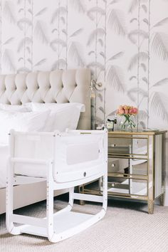 Preparing for Lily's Arrival with Anita's House - Upholstered Linen Headboard, Cole & Son Palm Wallp Bedroom Styles, Bedroom Designs, Bedside Crib, Palm Wallpaper, Linen Headboard, Farrow And Ball Paint, Stylish Bedroom, Cole And Son, Jo Malone