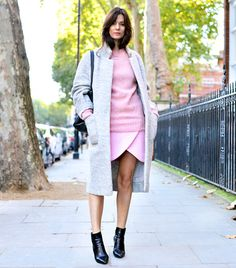 Alexandra M What Wear - Hedvig Opshaug of The Northern Light On Opshaug: Ganni coat, YMC sweater, Carven Asymmetric Wool-Blend Skirt ($325) in Bubblegum Pink, Celine bag, and Jimmy Choo boots
