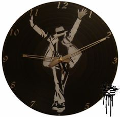 Michael Jackson #1 - Wall Clock on LP Record / Vinyl... Painted with techniques of the Graffiti & Stencil.