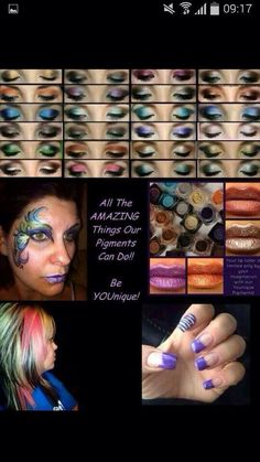 How amazing is this with our pigments you can put it in your hair on your nails even do face paint or just wear it as eye shadow totally in love with this! Mine is nearly here I been tracking my kit and it's finally in uk so any day now and then u will see more videos of me  oh god help u all haha but u will love to see what they look like if u would like to order this please contact me #eyes#nails#hair#cantwaitformine#picturewhenitarrives#makeupporn#younique#getyours