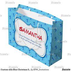 Custom-able Blue Christmas Stocking Large Gift Bag