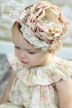 Items similar to Sweet Caramel Flower Headband-Girl headband -Baby headband- Newborn headband- Toddler headband-Flower girl on Etsy Toddler Headbands, Baby Girl Headbands, Baby Bows, Vintage Headbands, Lace Headbands, Cloth Flowers, Fabric Flowers, Wedding Headband, Diy Hair Accessories