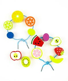 fruit salad threading beads.