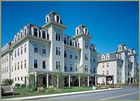 Bar Harbor Grand Hotel is a Hotel in Bar Harbor. Plan your road trip to Bar Harbor Grand Hotel in ME with Roadtrippers. Acadia National Park, National Parks, Bar Harbor Maine, East Coast Travel, Bike Path, Grand Hotel, Travel Usa, Mansions, House Styles