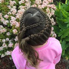 """""""A sweet style today of Dutch braids, heart and double ponytail. We are off to a play centre! Happy weekend to you all from Pretty Little Braids! Princess Hairstyles, Flower Girl Hairstyles, Little Girl Hairstyles, Hairstyles For School, Cute Hairstyles, Braided Hairstyles, Hairdos, Double Ponytail, Toddler Hair"""