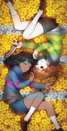 Hakyeong Sung, Undertale, Chara (Undertale), Frisk, Yellow Flower, Holding Object