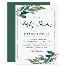 Gentle Foliage   Baby Shower Invitation Pretty #beach themed #weddinginvitations - Make your wedding day super special with these custom #beachtheme #invitations and #stationary