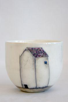 Taza - mug - pottery - ceramic - house - breakfast - desayuno - glaze - illustration - ilustracion - ceramica By Ana Brocal www.anabrocal.com