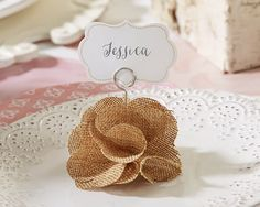 44 Burlap Rose Rustic Wedding Place Card Holders - Affordable Elegance Bridal -