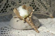 Shabby Chic Ivory Silk Rose Burlap Bridal by jcmartanddesign, $9.50