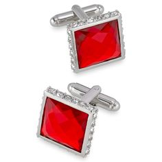 Faceted Crystal Square Cufflink
