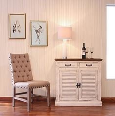 Bayshore Collection: Expertly finished high end reclaimed wood furniture. Muted painted wood and high style pieces for the home.  Distressed White Paint Solid Pine Wood Mortise and Tenon construction Shutter doors with one shelf behind