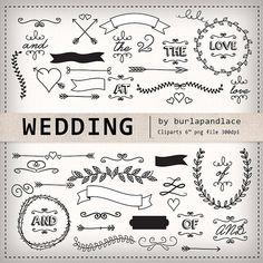 Wedding laurel clipart, wedding invitation digital, vintage bridal clipart, small comercial use, INS Faire Part Vintage, Bride Clipart, Planner Stickers, Wedding Cards, Wedding Invitations, Drawing Clipart, Chalkboard Wedding, Vintage Bridal, Vintage Weddings