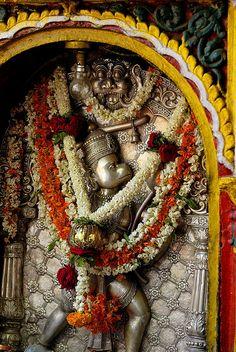 A flower-laden figure of the Hindu Monkey God Hanuman in the temple Sri Cahmundeswari atop Chamundi Hill in Mysore, India. Om Namah Shivaya, Temple Indien, Shri Hanuman, Amazing India, India Colors, Hindu Temple, Hindu Deities, God Pictures, Hindu Art
