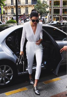 White jumpsuit + silver