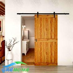 4.9ft/6 フィート/6.6ft鋳鉄納屋スライド インテリア木製ドア
