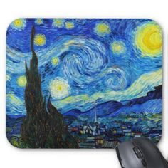 SOLD! - Starry Night Vincent Van Gogh painting Mouse Pad #starry #night #vangogh #gogh #postimpressionism #painting #mousepad #pc #accessories #gift #Paris #France