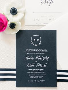Black and White Stripe Calligraphy Wedding Invitation | Jordan Brittley Photography | http://heyweddinglady.com/whimsical-kate-spade-wedding-black-tie/