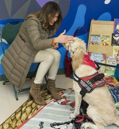 FLOTUS Trump visits military families in Anchorage, Alaska on November Melina Trump, First Lady Of America, Melania Knauss Trump, Military Families, Anchorage Alaska, First Lady Melania Trump, Therapy Dogs, Ivanka Trump, Beautiful One