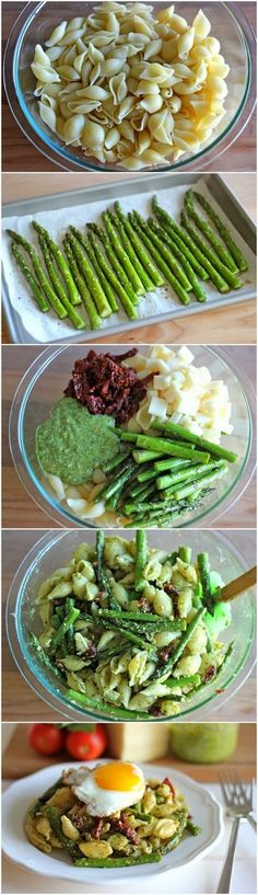 Allrecipecenter: Pesto Pasta with Sun Dried Tomatoes and Roasted Asparagus