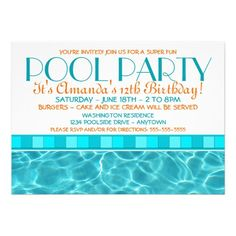 Printable Pool Party Birthday Invitation Pool Party Invite